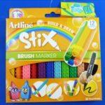 Marcador Escolar Tipo Lego Stix Punta Pincel 12 Colores Artline