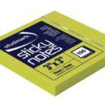 Notas Adhesivas Neón 3″x3″ (75x75mm)  / 100 hojas / Studmark  ST-05442-G