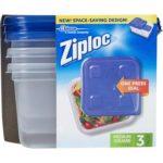 Contenedor mediano cuadrado / Ziploc / 3 unidades