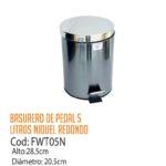 Basurero Metálico de Pedal 5 Litros FWT05N/CSS