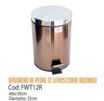 Basurero Metálico de Pedal 12 Litros FWT12R/CSS