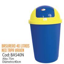 Basurero Plástico 40 Litros Cod: BAS40N/CSS