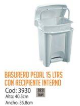 Basurero Plástico de Pedal 15 Litros Cod: 3930/CSS