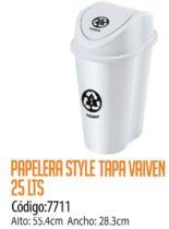 Basurero Plástico 25 Litros Cod: 7711/CSS