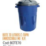 Basurero Plástico 70 Litros Cod: BOTE70/CSS