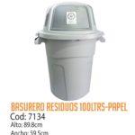 Basurero Plástico Residuos Papel 100 Litros Cod: 7134/CSS