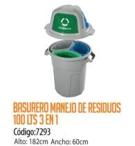 Basurero Plástico Residuos 3-en-1 100 Litros Cod: 7293/CSS